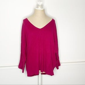 Ann Taylor V Neck Oversized Maroon Sweater